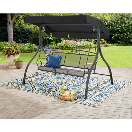 Mainstays Wentworth 3 Person Cushioned Canopy Porch Swing