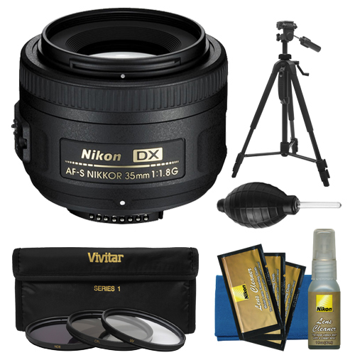 Nikon 35mm f/1.8 G DX AF-S Nikkor Lens + Tripod + 3 UV/CPL/ND8 Filters + Kit for D3200, D3300, D5300, D5500, D7100, D7200 Cameras