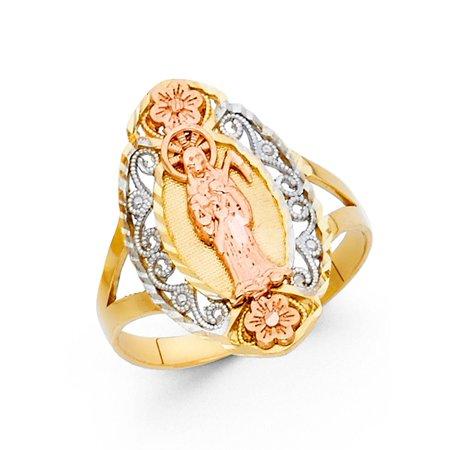 Santa Muerte Ring 14k Yellow White Rose Gold Angel Of Death Band Grim Reaper Diamond Cut (14k Angel Ring)