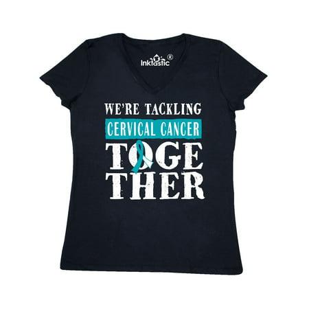 Cervical Cancer Awareness Ribbon Women's V-Neck T-Shirt ()