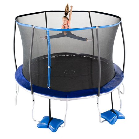Trujump 12-Foot Trampoline, with Enclosure and Spin-N-Light, Blue