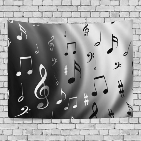 POPCreation Gray Music Note Wall Art Decoration, White Black Note Bedroom Living Room Dorm Wall Hanging Tapestry 40x60 inches - Music Note Decorations