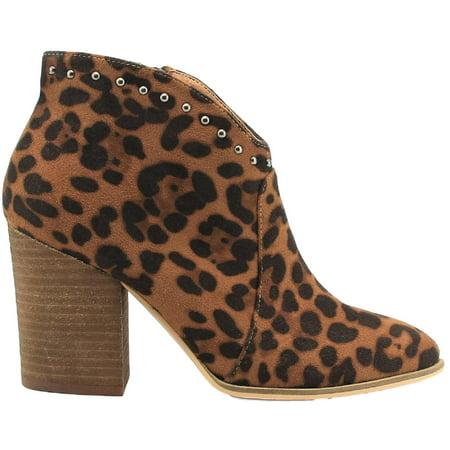 Aspen-03 Women Western Studs Pointed Toe Block Heel Side Zipper Ankle Boots Leopard