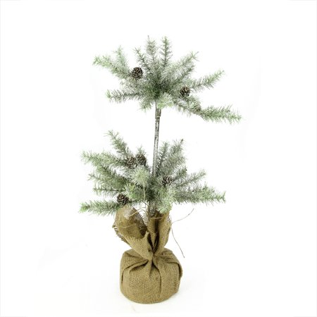 Napa Home and Garden 2.25' Unlit Artificial Christmas Tree Silent Luxury Vintage Glitter Pine Double Topiary with Burlap Base Double Crossed Bamboo Tree