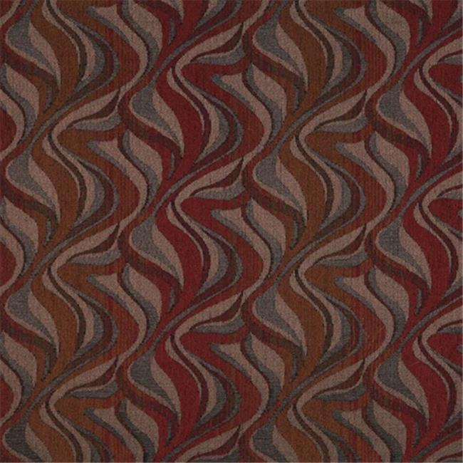 Designer Fabrics F191 54 in. Wide Red, Brown And Grey, Abstract Flame Chenille Upholstery Fabric