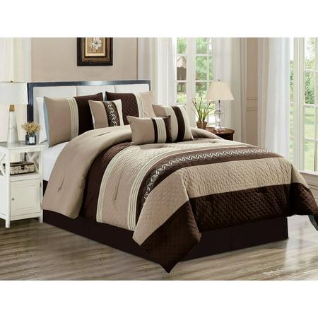 7 Piece Comforter Set Brown Striped Bed