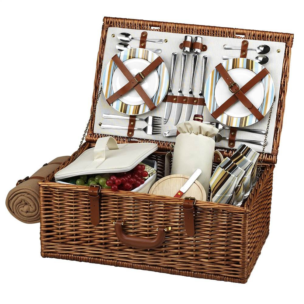 Dorset Santa Cruz Picnic Basket for Four with Blanket by Picnic at Ascot