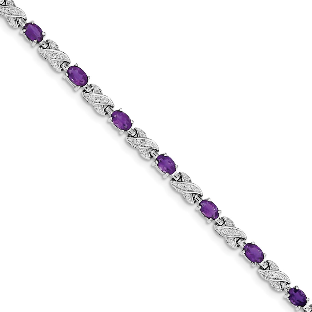 """Sterling Silver Simulated Amethyst Bracelet 7"""" with Secure Lobster Lock Clasp (5mm) by AA Jewels"""