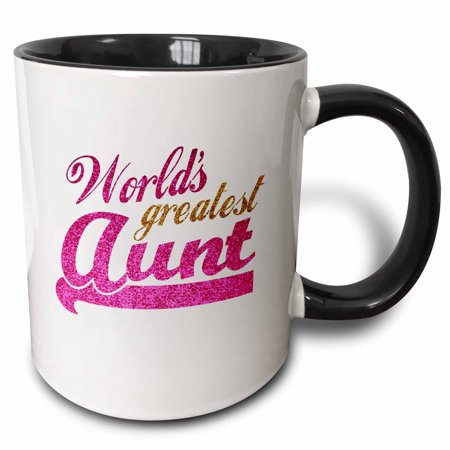 3dRose Worlds Greatest Aunt - Best Auntie ever - pink and gold text - faux sparkles - matte glitter-look, Two Tone Black Mug,