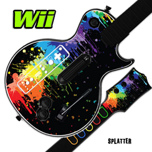 Mightyskins Skin Decal Cover for GUITAR HERO 3 III Nintendo Wii Les Paul - Splatter