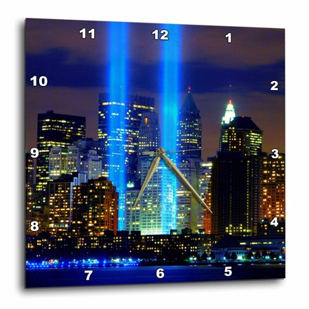 3dRose Beautiful photograph of the Twin Towers 911 Memorial Lights Never Forget - Wall Clock, 15 by