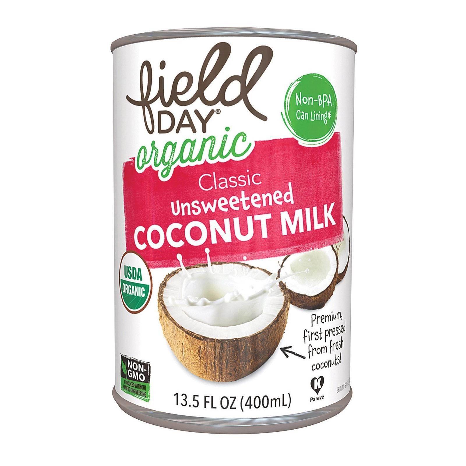 Field Day Organic Light Unsweetened Coconut Milk - Coconut Milk - pack of 12 - 13.5 Fl Oz.