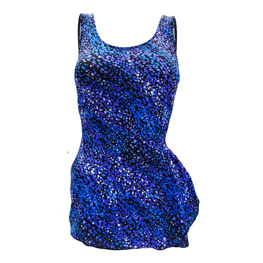 Deep Blue Womens Blue Mosaic Sarong Front One Piece Swimsuit