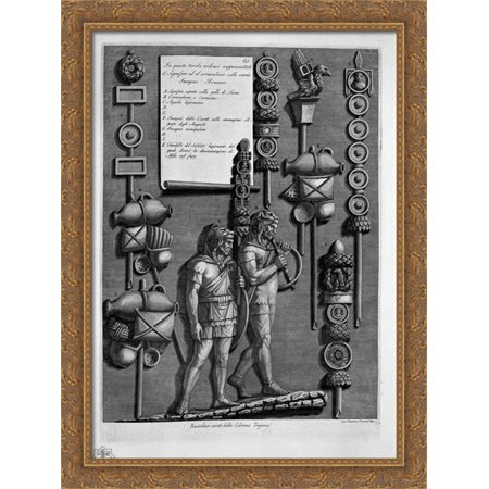 Signifer Corniculario with various signs and Roman (from the Trajan column) 28x36 Large Gold Ornate Wood Framed Canvas Art by Giovanni Battista Piranesi