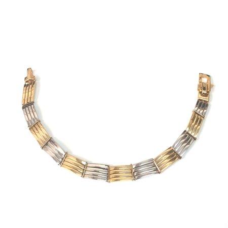 """14k Yellow And White Gold Rectangular Link Men's Bracelet, 8.25"""" - image 1 de 1"""