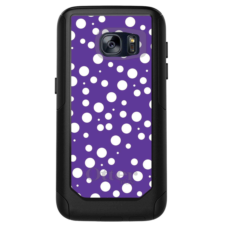 DistinctInk™ Custom Black OtterBox Commuter Series Case for Samsung Galaxy S7 - Purple White Bubbles Polka Dots