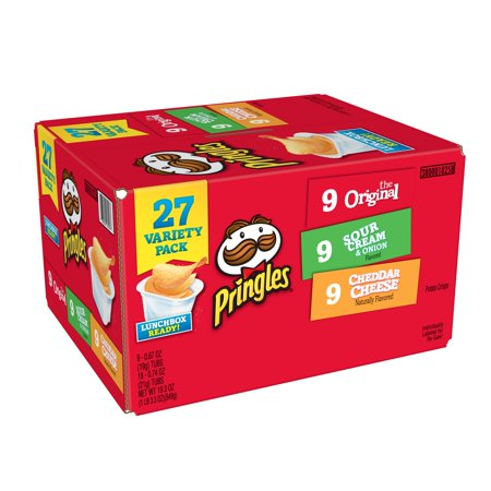 Pringles Variety Pack Original, Sour Cream & Onion and Cheddar Cheese Potato Crisps Chips, 19.3 Oz., 27 - Crispy Chips