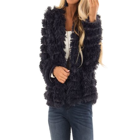 Womens Plush Autumn Stripe Long Sleeve Keep Warm Fashion Faux Fur Long