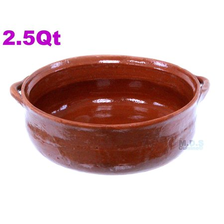 "Cazuela Bowl De Barro Lead Free Pot Salsa Bowl Mexican Clay Traditional Authentic Decorative (Cazuela Bowl De Barro 8.5"")"