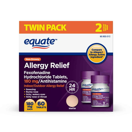 Equate Allergy Relief Fexofenadine Hydrochloride Tablets, 180mg, 2x30 ct