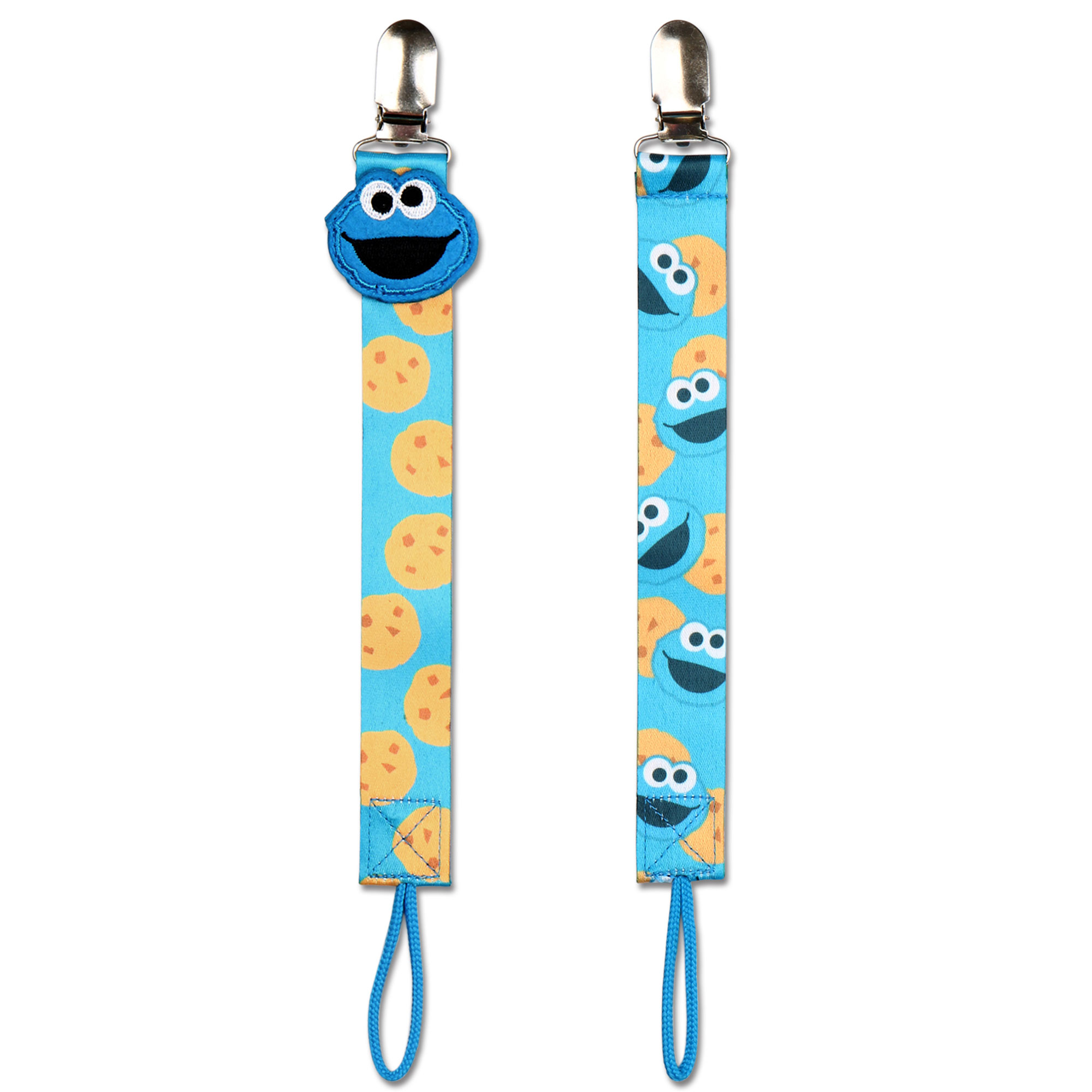 2 No Throw Pacifier Tethers Holders - Cookie Monster from Sesame Street