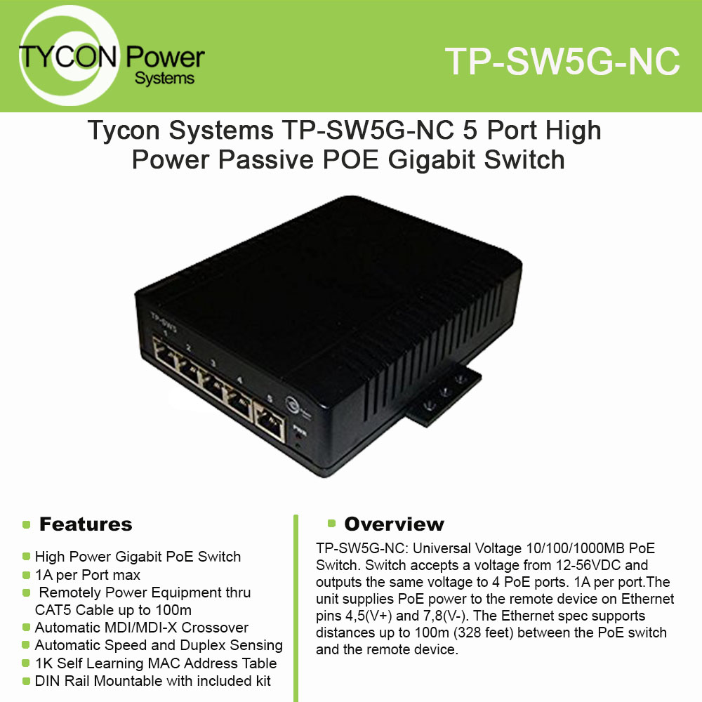 Tycon Power TP-SW5G-NC 12-48V 5 Port High Power Passive PoE Gigabit switch