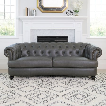 Devon & Claire Landon Tufted Top Grain Leather Sofa, Grey ()