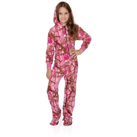 Fun Boxer - FUN FOOTIES Camo Smiley Girls Footed Pajama Sleeper Onesie 829fd261d