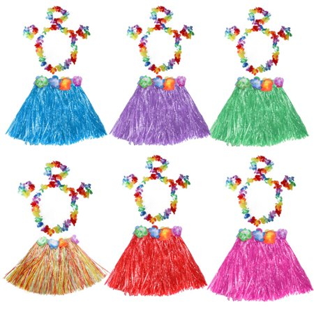 Meigar Tropical Hawaiian Hula Dance Grass Skirt Lei Garland Headband Wristband Fancy Dress Costume,Grass Dance Skirt & Bra & Flower Bracelets & Headband & Necklace ,Pink color