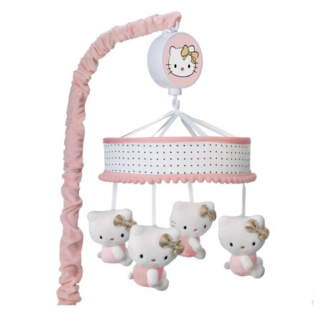 Lambs Ivy Hello Kitty Pink Gold White Musical Baby Crib Mobile