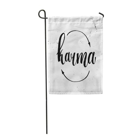 KDAGR Arrow Hand Lettering Karma Circle Boomerang Come Garden Flag Decorative Flag House Banner 28x40 inch
