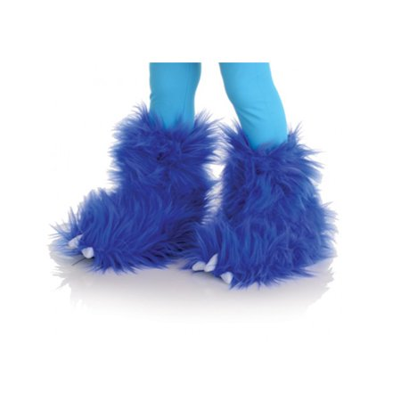 Blue Monster Fuzzy Furry Boots Kids Animal Halloween Costume - Halloween Referee Boots