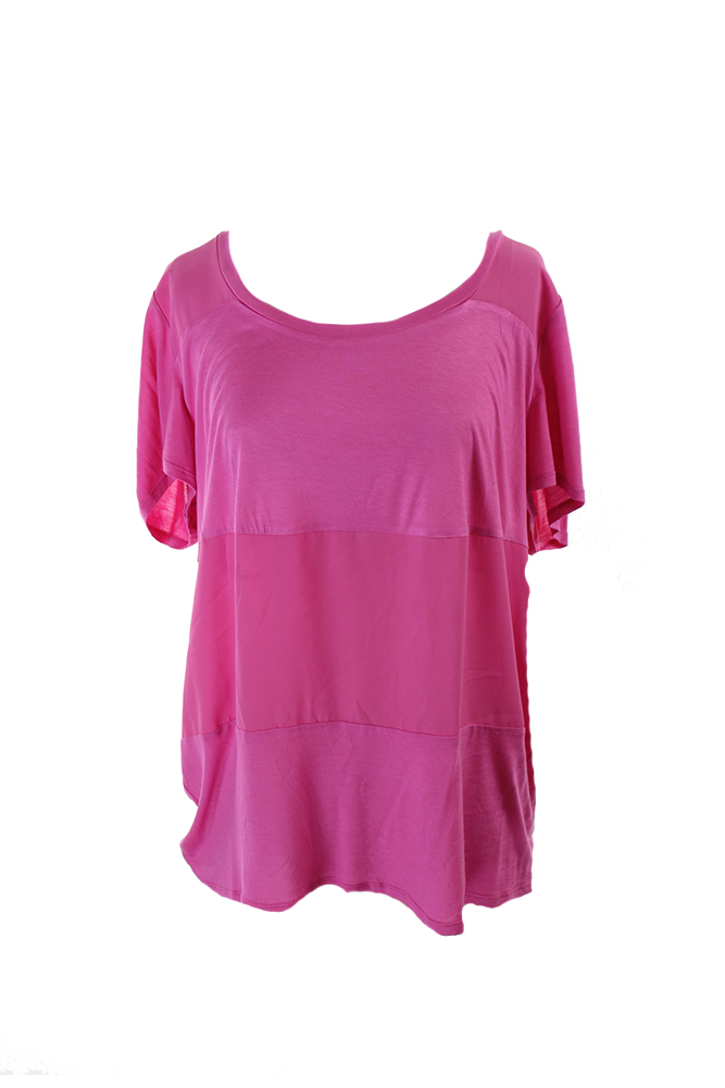 Inc International Concepts Plus Size Pink Mixed-Media Tee X