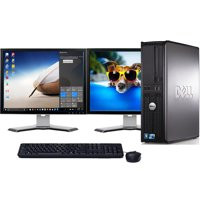 "Dell Optiplex Desktop Computer 10 Intel Core 2 Duo Processor 8GB RAM 1TB Hard Drive DVD Wifi with Dual 19"" LCD's Keyboard and Mouse-Refurbished"
