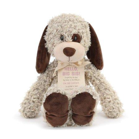 DEMDACO Big Sister Puppy Soft Brown Plush Stuffed Animal, 13