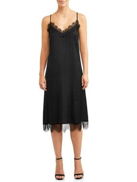Women's Midi Slip Dress with Lace Trim