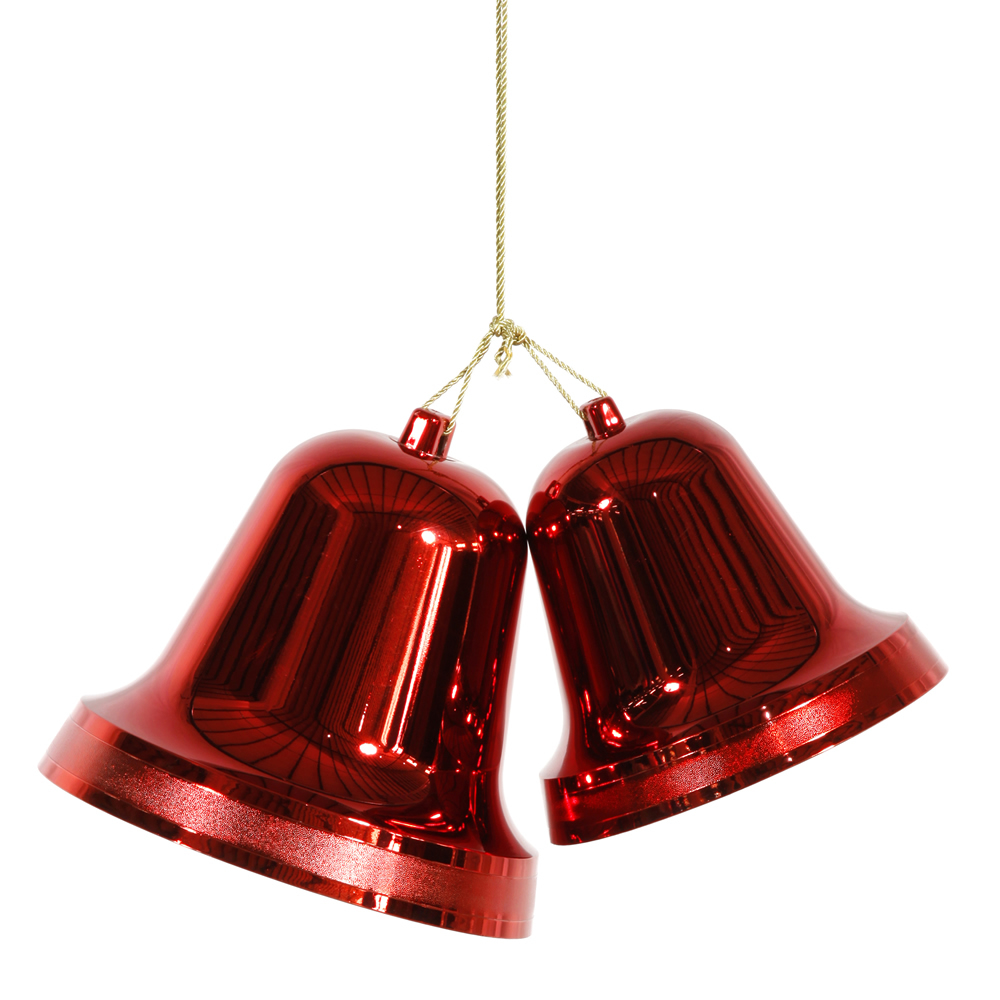 """12"""" Commercial Sized Shiny Red Double Bell Shatterproof Christmas Ornament"""
