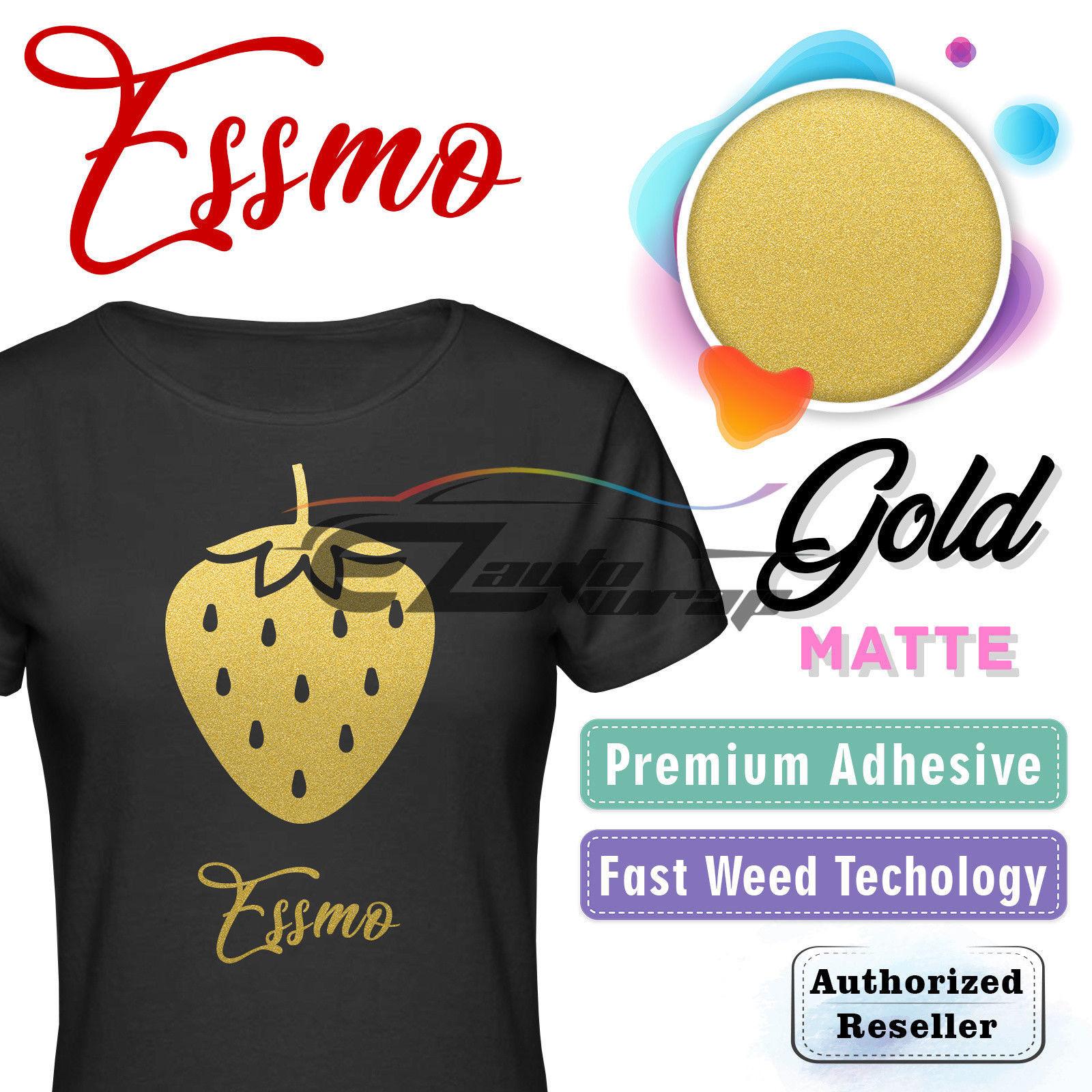 "ESSMO GOLD Matte Solid Heat Transfer Vinyl HTV Sheet T-Shirt 20"" Wide Iron On Heat Press 20""x12"""