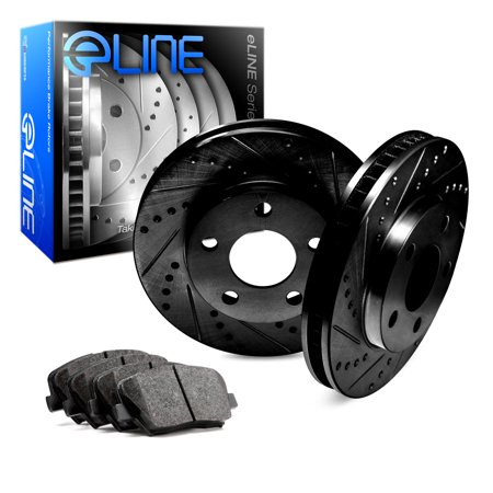 Fits 2012 2013 2014 2015 2016 Ford Focus Front Black Drilled Slotted Brake Disc Rotors & Ceramic Pad
