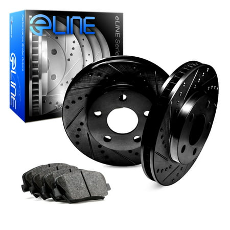 1995 1996 1997 1998 1999 BMW M3 Rear Black Drilled Slotted Brake Disc Rotors & Ceramic Pads