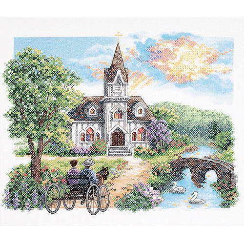 "Dimensions country Church Stamped Cross Stitch Kit, 14"" x 12"""