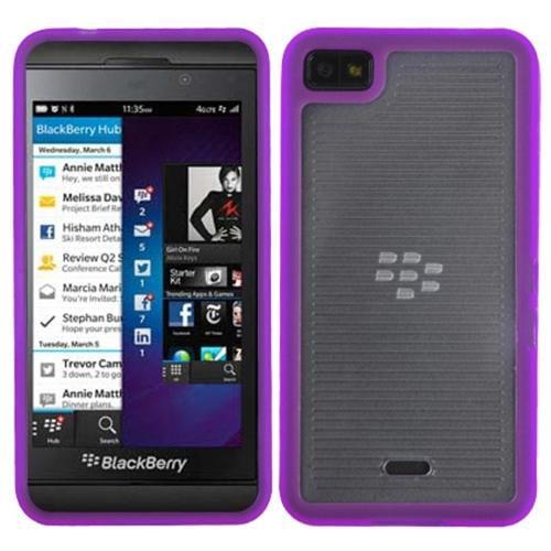 Insten Horizontal Stripes Transparent Clear/Solid Purple Gummy Cover Case for BLACKBERRY: Z10