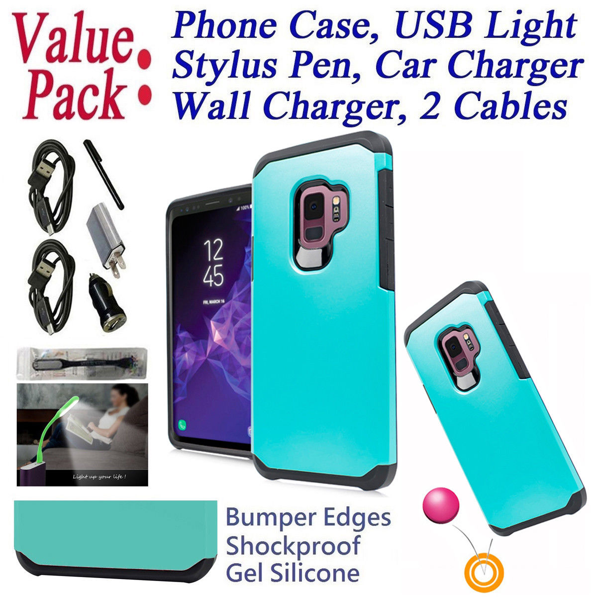 "Value Pack Cables + for 5.8"" Samsung S9 Galaxy S 9 G960 Case Phone Case Shock proof Edges Hybrid Layers Slim Bumper Scratch Shield Cover Emblem Neon"