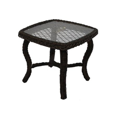 Patio Master BPH02610H60 Bermuda End Table, All-Weather Wicker, Steel Frame, Glass Top - Quantity 1 ()