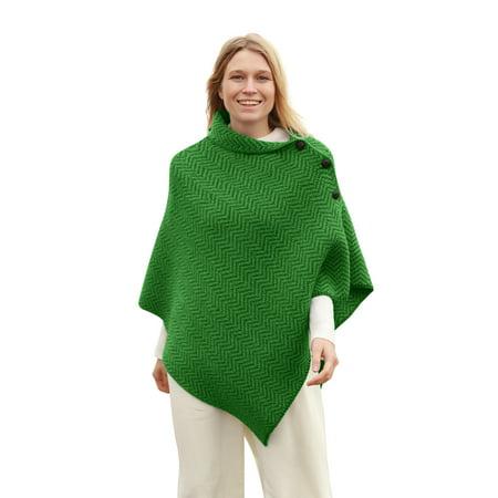 Herringbone Merino Wool Irish (Denim Poncho)