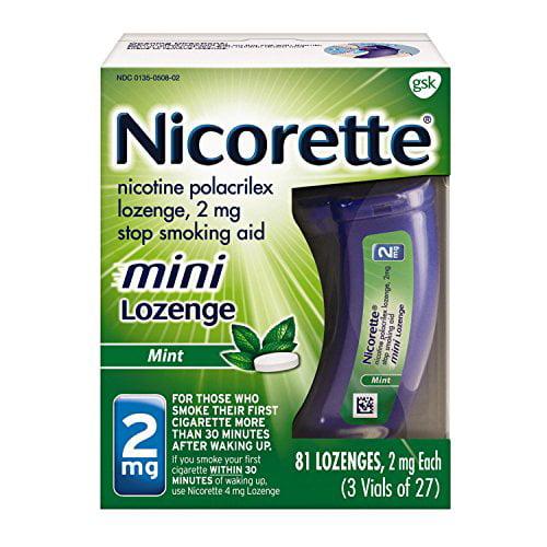 2 Pack Nicorette Mini Nicotine Lozenge Mint 2 Milligram Stop Smoking Aid 81 Each