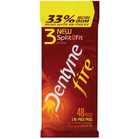 Dentyne Fire Sugar-Free Spicy Cinnamon Flavor Gum 33% More, 16 Pieces, 3 Count - Dentyne Peppermint Candy