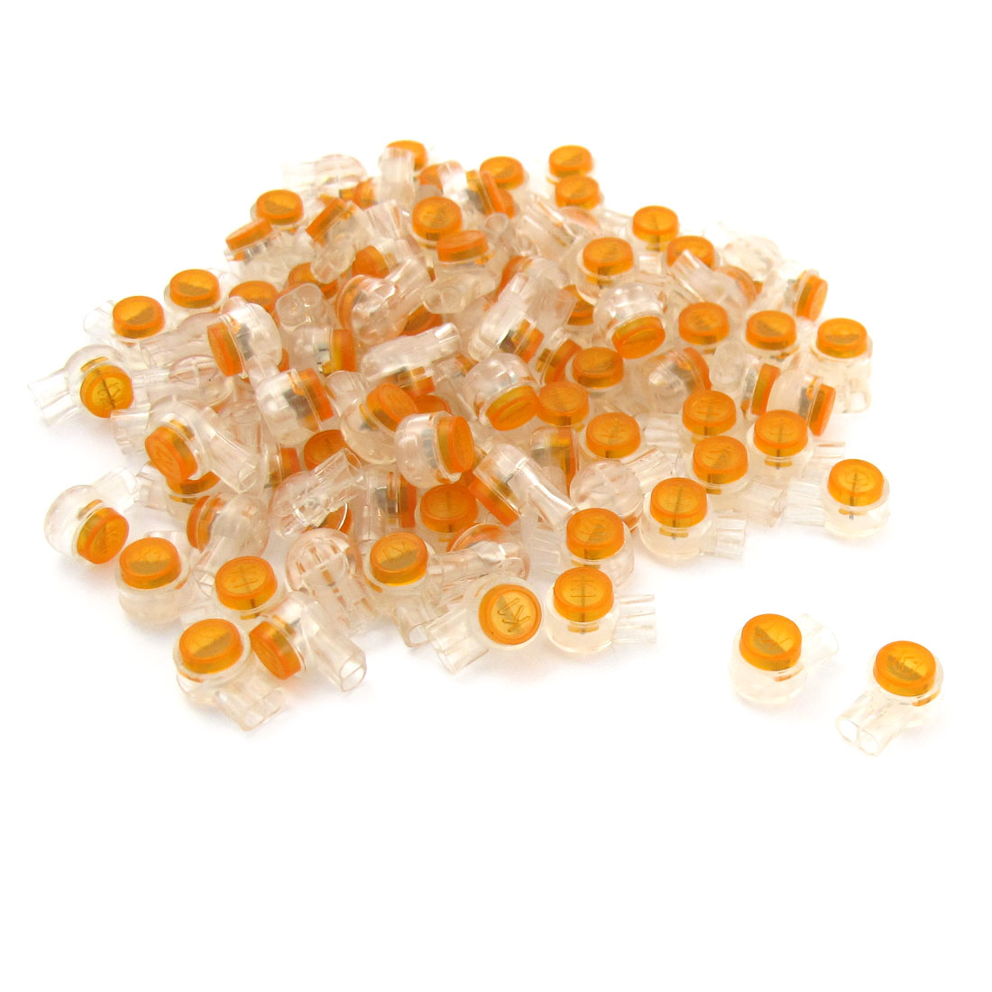 Unique Bargains 100 x Air Tight Orange Clear Button Cable UY Butt Splice Connectors