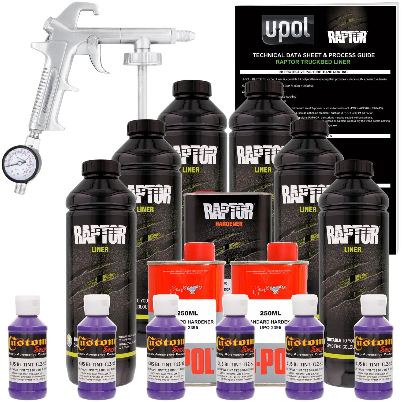 U-POL Raptor Bright Purple Urethane Spray-On Truck Bed Liner Kit w/ FREE Custom Coat Spray Gun with Regulator, 6 Liters