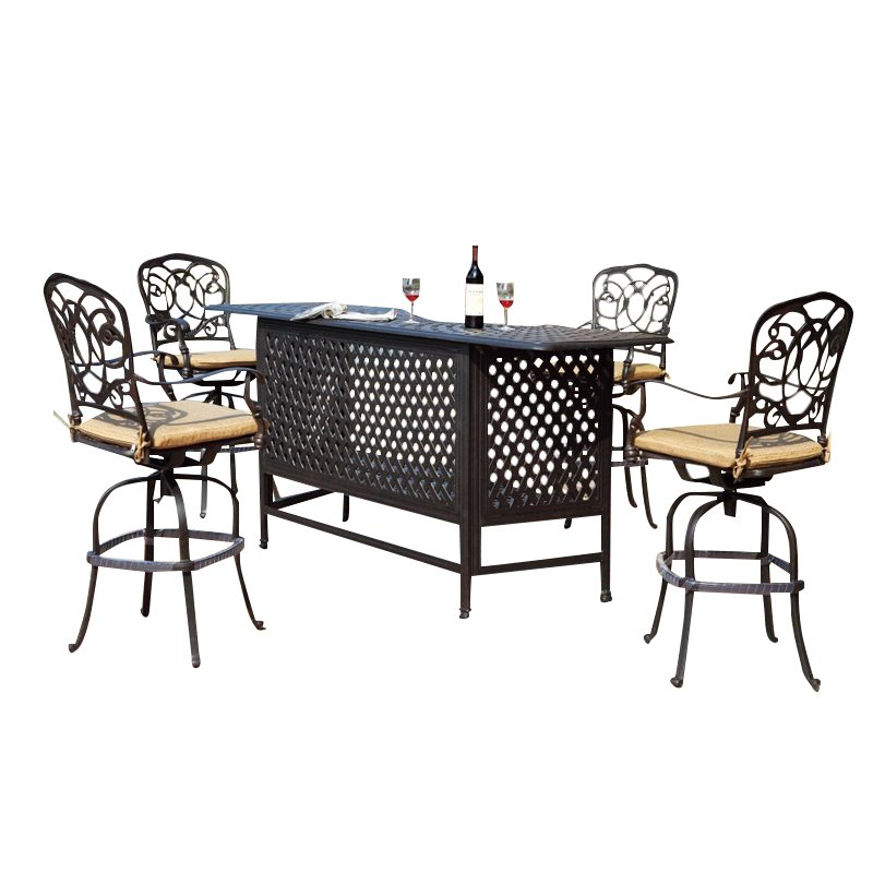 Darlee Florence 5 Piece Patio Pub Set with Seat Cushion